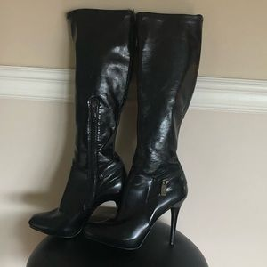 Guess Faux Leather Stiletto Knee High Boots
